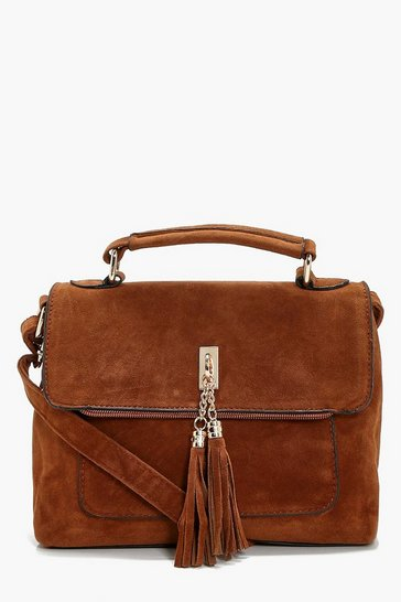 Womens Tan Suedette Tassel Cross Body Bag
