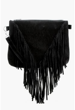 Suedette Fringed Cross Body Bag, Black