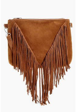 Womens Tan Suedette Fringed Cross Body Bag