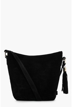 Womens Black Suedette Bucket Cross Body Bag