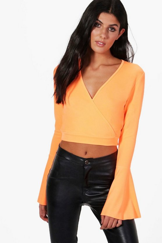 Wrap Front Flare Sleeve Top
