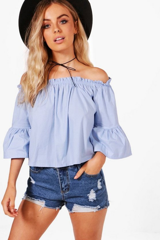 Eva Off The Shoulder Frill Sleeve Top