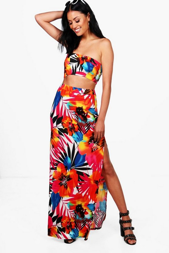 Krissy Bandeau & Tropical Maxi Skirt Co-ord