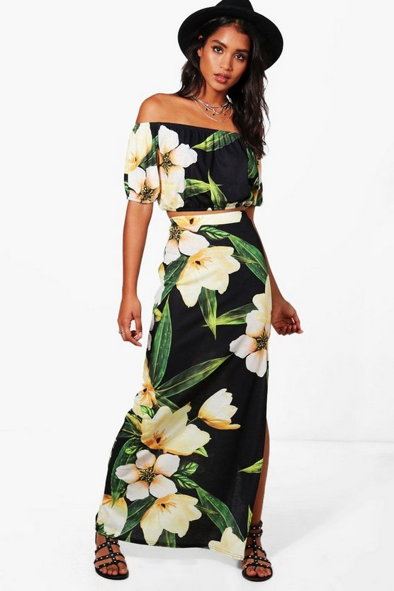 Ali Floral Off Shoulder Crop & Maxi Co-ord