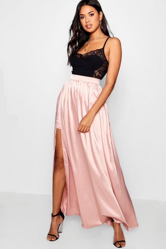 Side Split Satin Maxi Skirt