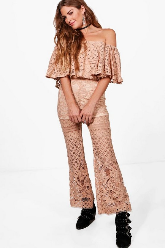 Lace Top & Cropped Flared Trousers