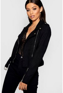 Womens Black Premium Faux Suede Biker Jacket