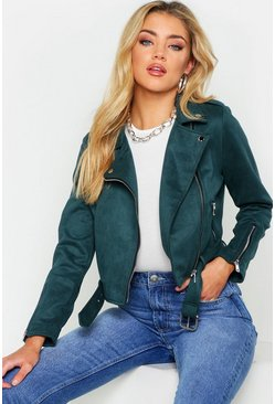 Womens Bottle green Premium Faux Suede Biker Jacket