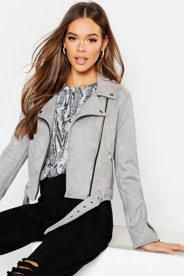 Womens Grey Premium Faux Suede Biker Jacket