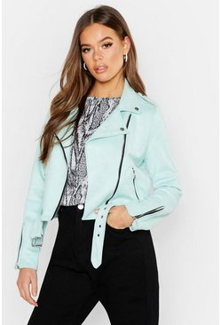 Womens Mint Premium Faux Suede Biker Jacket