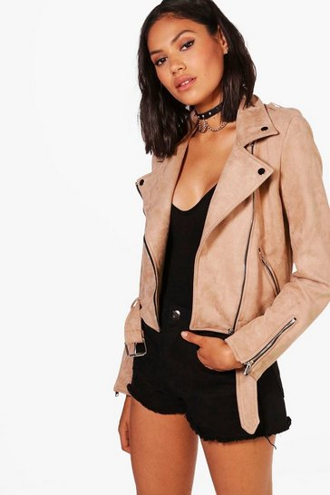 Womens Tan Premium Faux Suede Biker Jacket