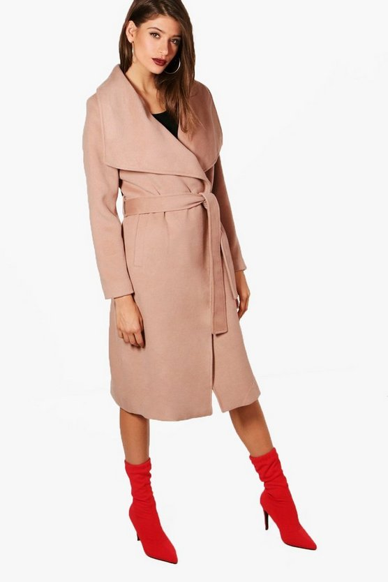 Maxi Belted Waterfall Coat