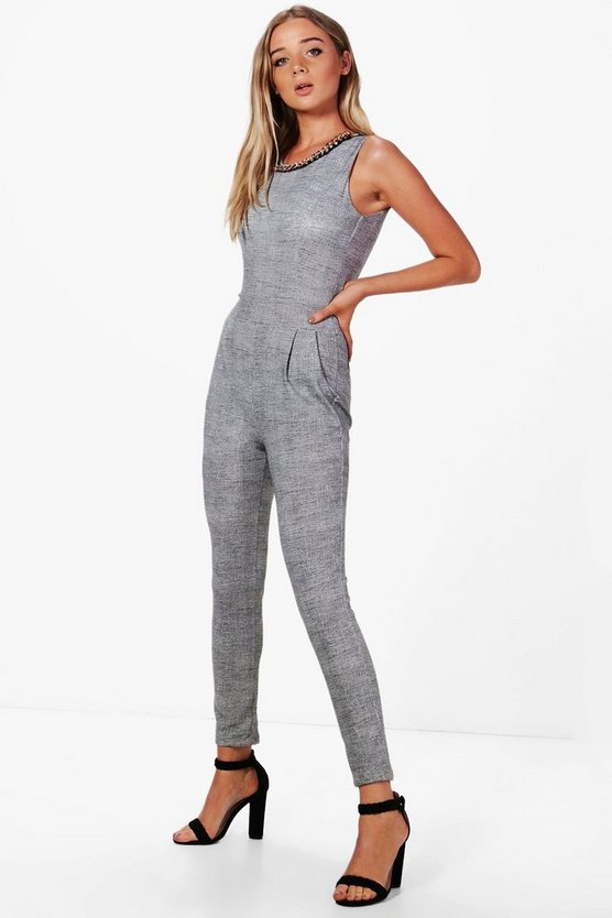 Holly Monochrome Jumpsuit With Detachable Chain
