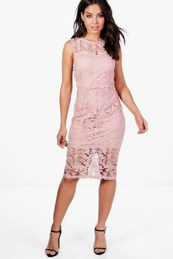 Womens Blush Boutique Eleanor Lace Sleeveless Midi Dress