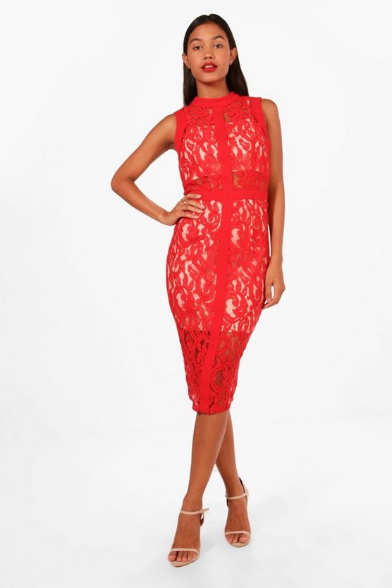 Boutique Lace Panelled Sleeveless Midi Dress