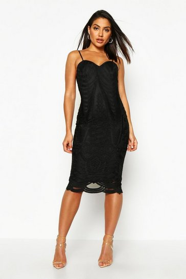 Womens Black Boutique Mesh Panelled Strappy Midi Dress