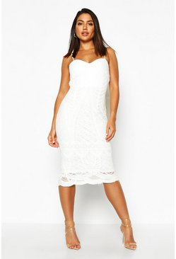 Womens Ivory Boutique Mesh Panelled Strappy Midi Dress