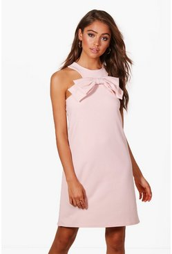 Womens Bow Front Detail Shift Dress
