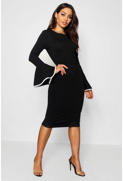 Contrast Flared Sleeve Midi Dress, Black, Donna