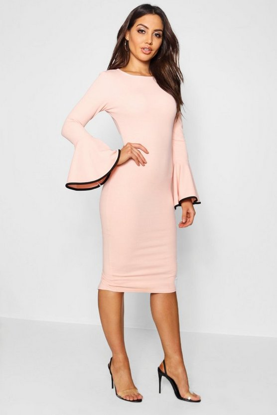 Womens Blush Contrast Flared Sleeve Midi Dress