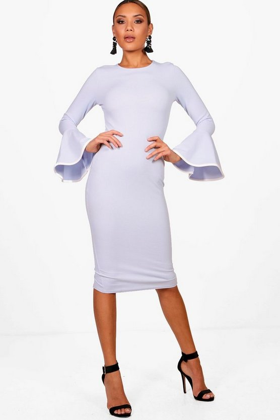 Sky Contrast Flared Sleeve Midi Dress