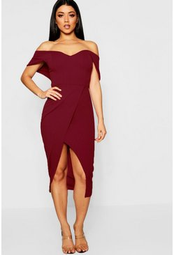 Off Shoulder Wrap Skirt Midi Dress, Berry, Donna