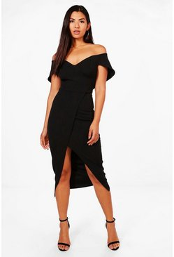 Womens Black Off Shoulder Wrap Skirt Midi Dress