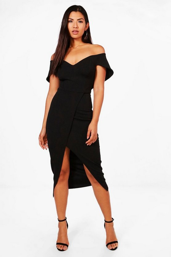 Off Shoulder Wrap Skirt Midi Dress