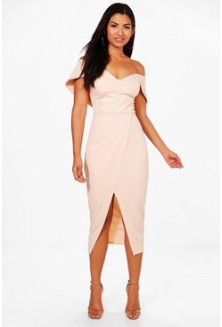 Off Shoulder Wrap Skirt Midi Dress, Blush