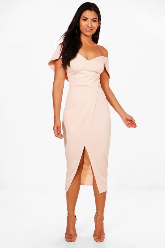 Womens Blush Off Shoulder Wrap Skirt Midi Dress