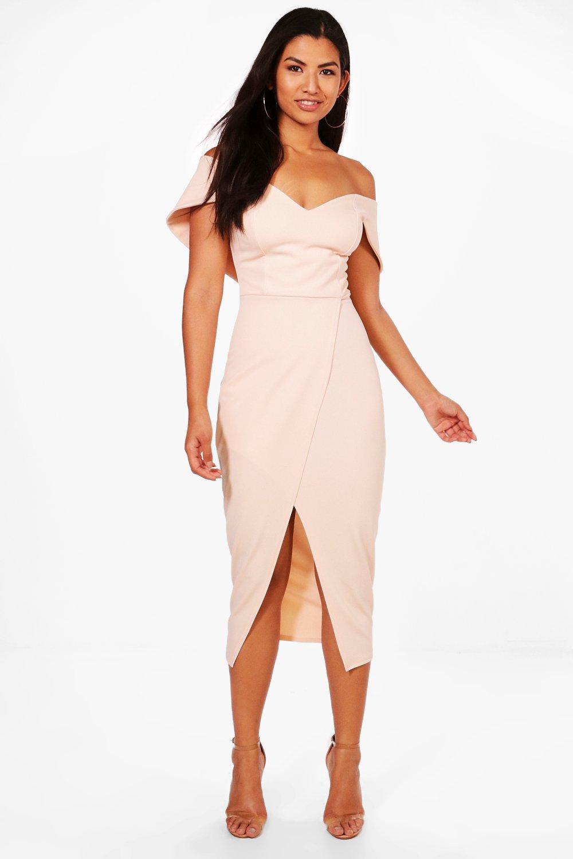 cda6624f2e39 Off Shoulder Wrap Skirt Midi Dress. Hover to zoom