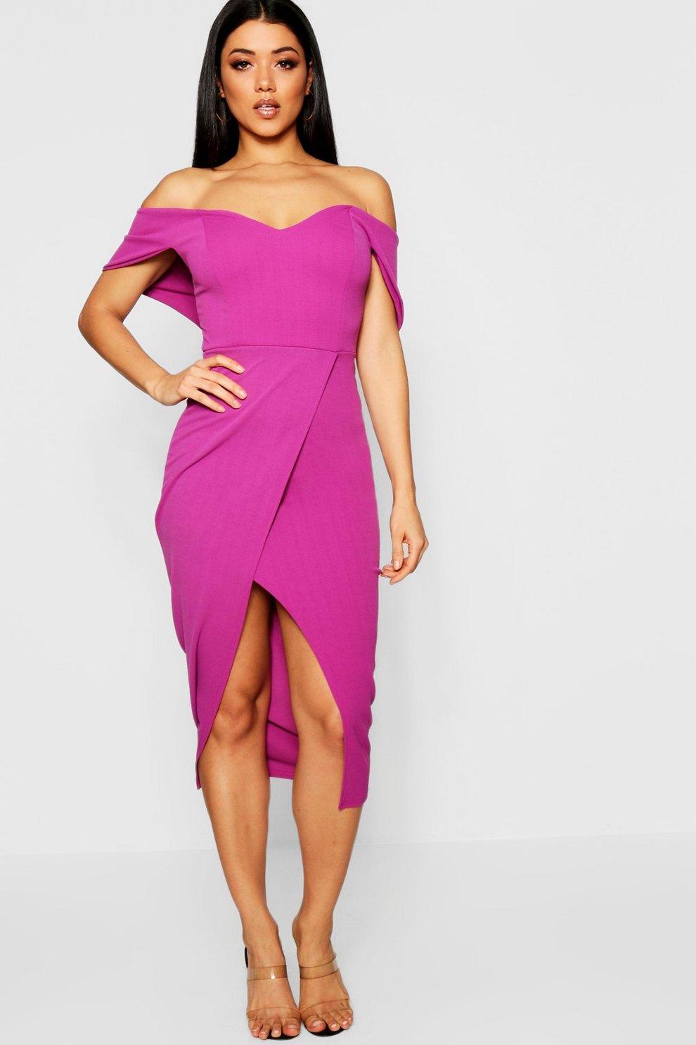1386a2a5fb8ba Off Shoulder Wrap Skirt Midi Dress