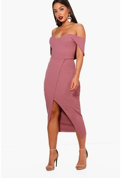 Mauve Off Shoulder Wrap Skirt Midi Dress
