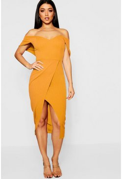 Womens Mustard Off Shoulder Wrap Skirt Midi Dress