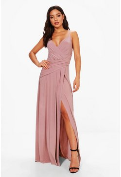 Mauve Slinky Wrap Ruched Strappy Maxi Bridesmaid Dress