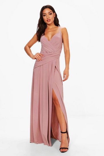 Womens Mauve Wrap Ruched Strappy Maxi Dress