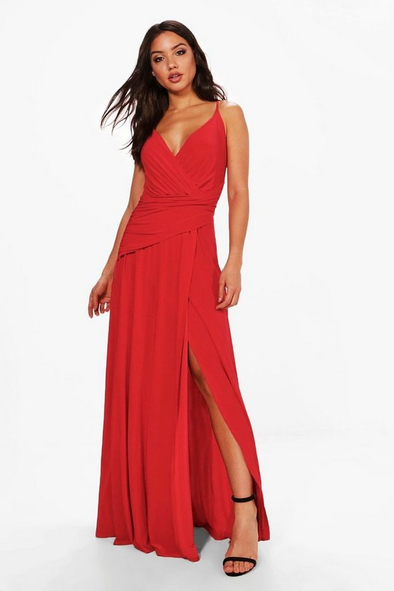 Womens Red Wrap Ruched Strappy Maxi Dress
