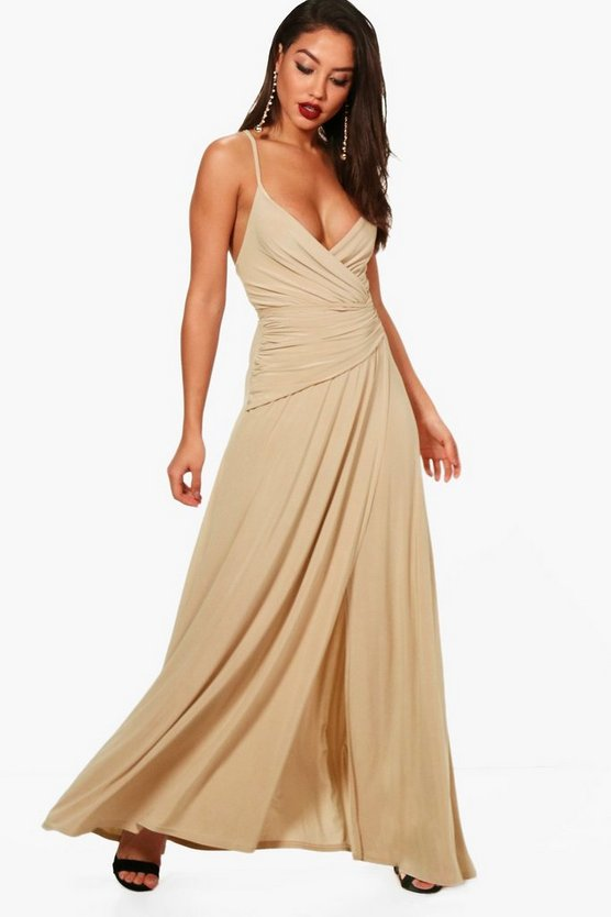 Stone Wrap Ruched Strappy Maxi Bridesmaid Dress