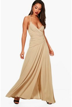 Stone Wrap Ruched Strappy Maxi Dress