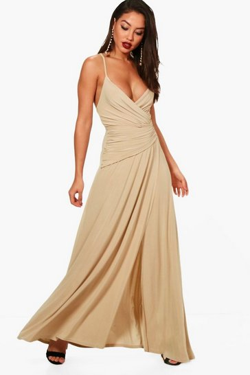 Stone Slinky Wrap Ruched Strappy Maxi Bridesmaid Dress