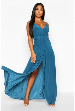 Womens Teal Wrap Ruched Strappy Maxi Dress