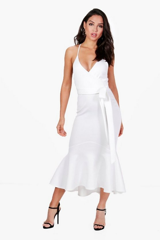Emma Plunge Wrap Frill Hem Midi Dress