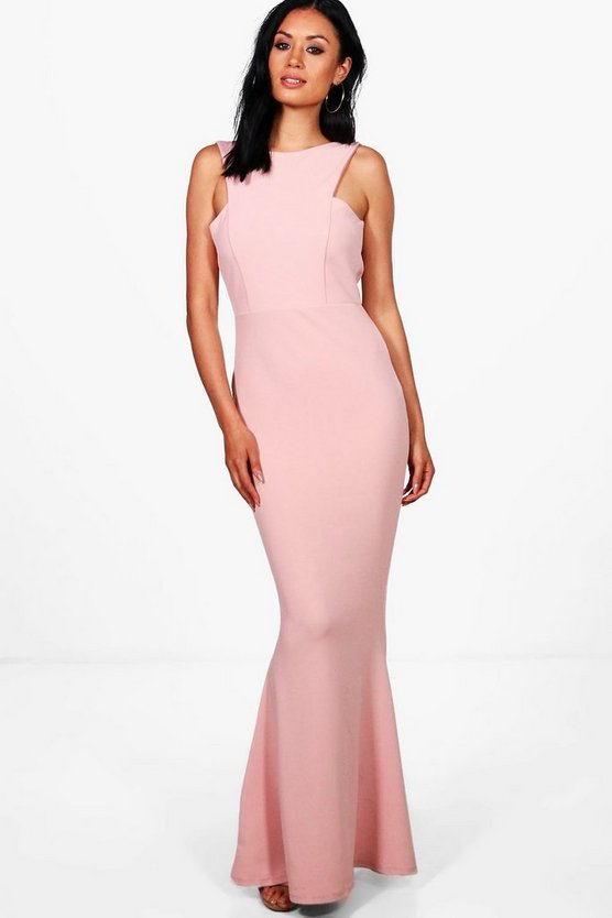 Sena Cutaway Neckline Fishtail Maxi Dress