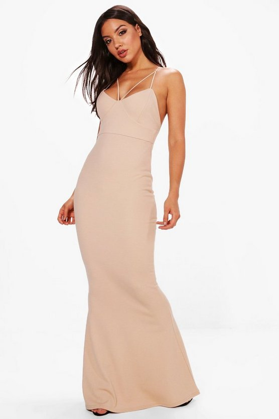 Evie Strappy Detail Fishtail Maxi Dress