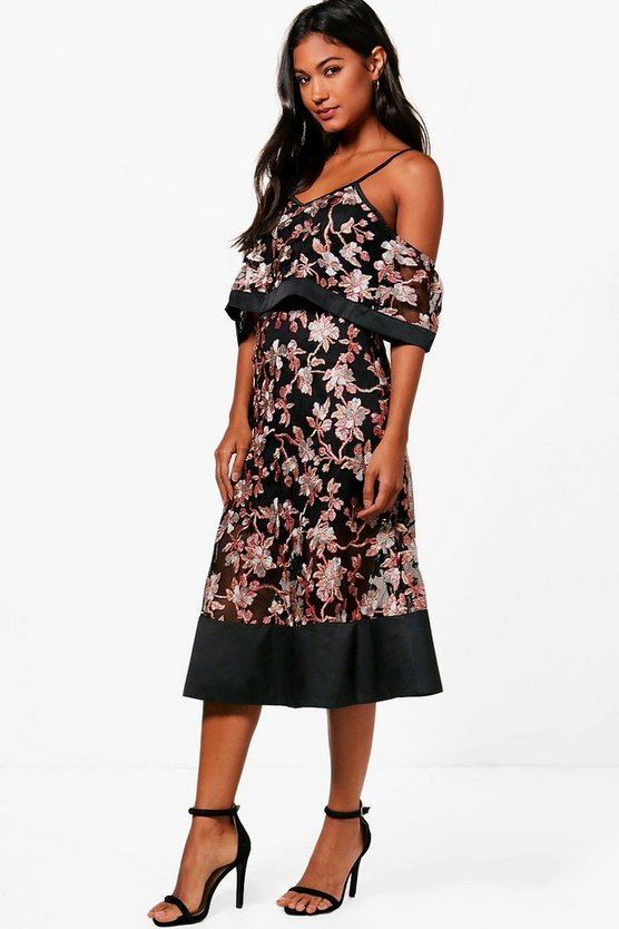 Boutique Floral Organza Frill Top Midi Dress