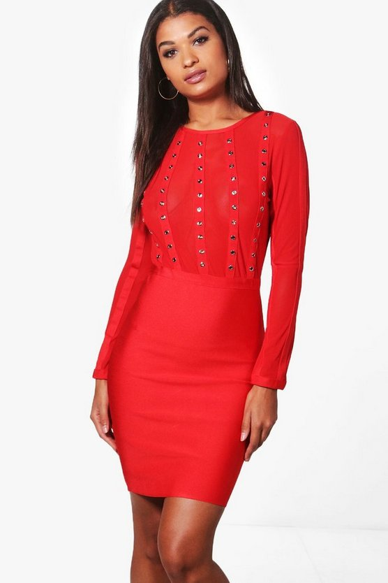 Boutique Eyelet Bandage Bodycon Dress