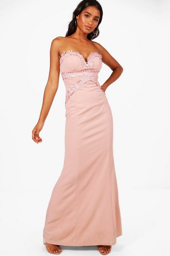 Womens Blush Boutique Sally Applique Trim  Maxi Dress