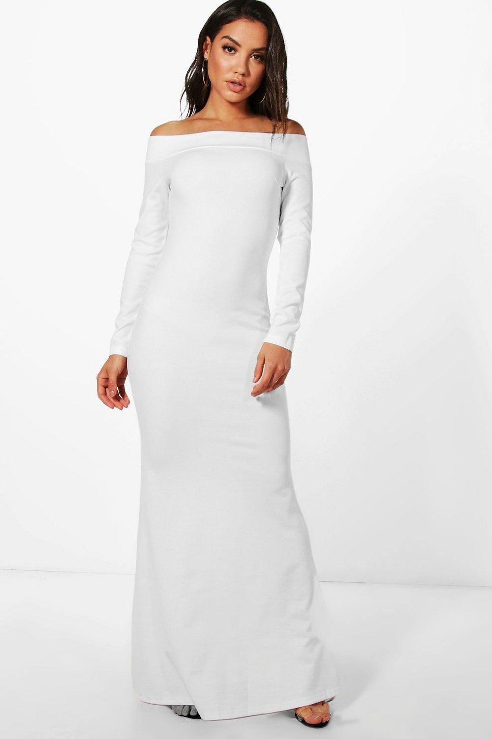 b9667f666e6 Fliss Off Shoulder Long Sleeve Maxi Dress | Boohoo