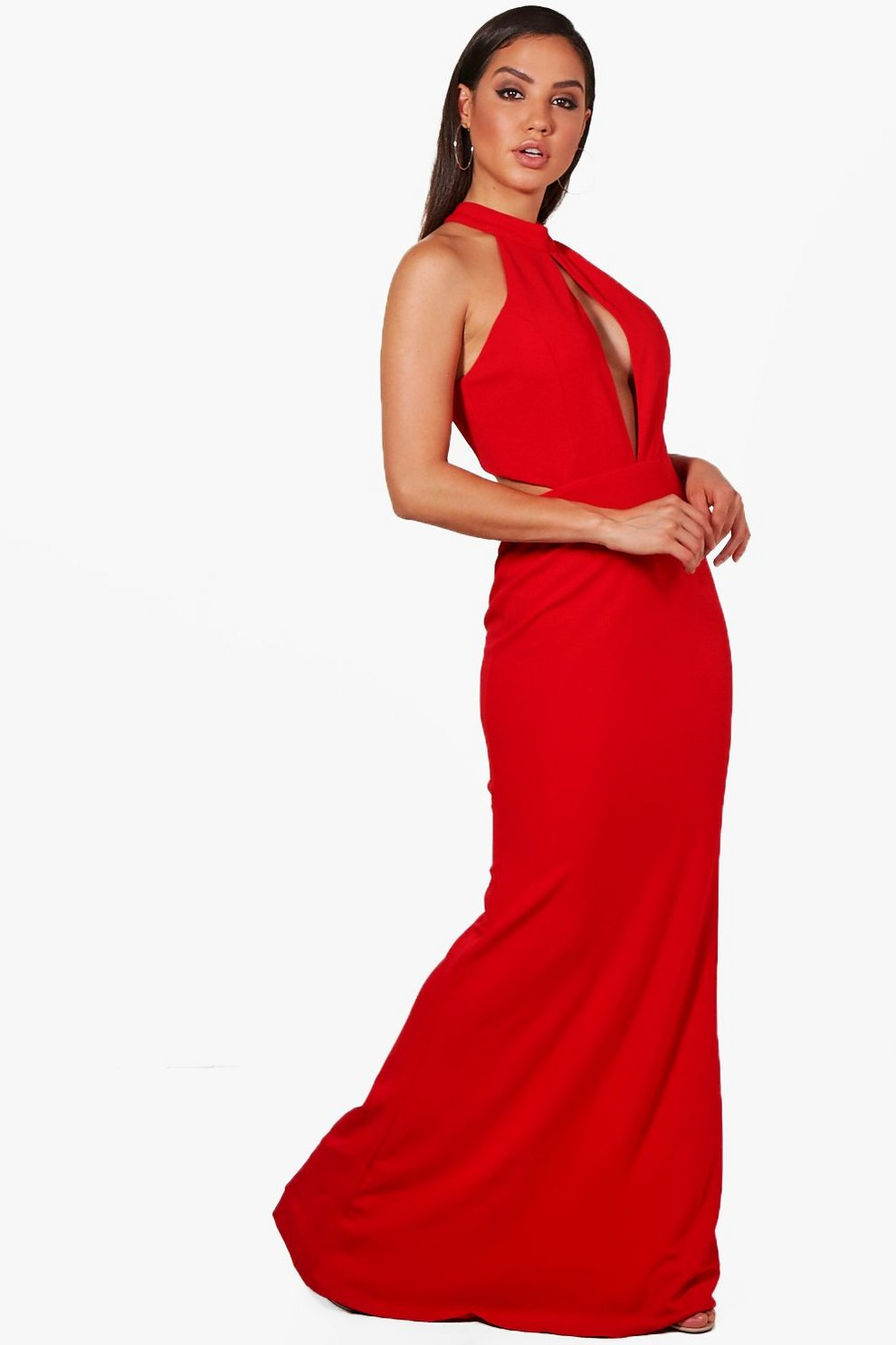 788d1f24cc Womens Red Cut Out Detail Fishtail Maxi Dress. Hover to zoom