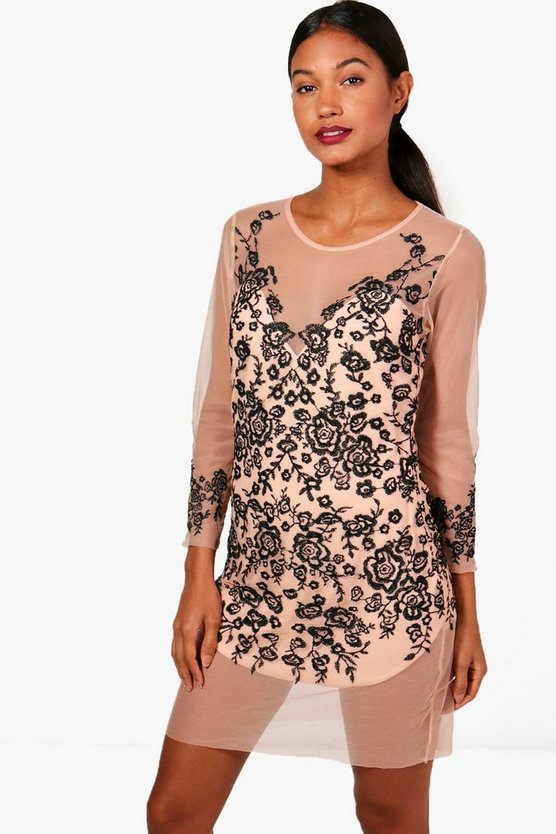 Boutique Embroidered Mesh Bodycon Dress